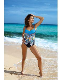 Ženski jednodijelni kupaći kostim Monaco Nero-Turchese M-501 (1)