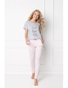 Ženska pižama Grace Long siva-roza
