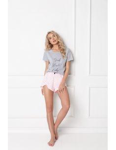 Ženska pižama Grace Short siva-roza