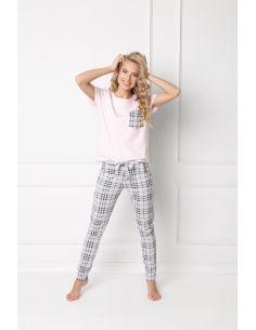 Ženska pižama Londess Long roza-siva