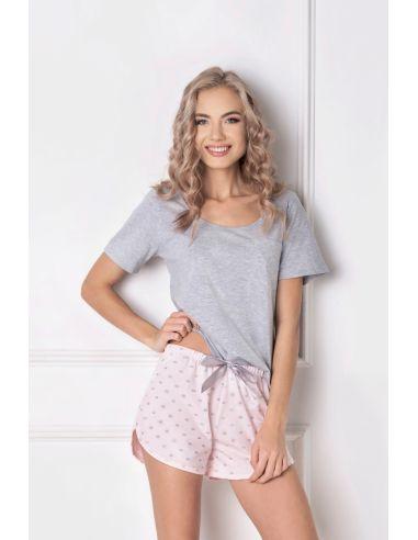 Ženska pižama Q Short siva-roza