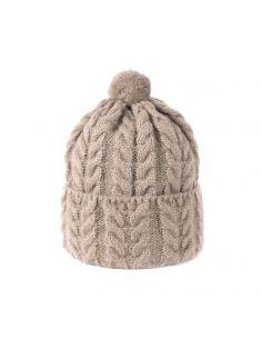 Ženska pletena kapa Mini mini temno beż