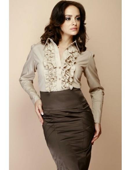 FIGL - ženska srajca z volančki dolgi rokav M012