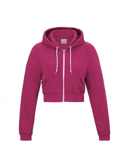 Ženski kratek pulover s kapuco z zadrgo JH056